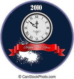 New Year clock. Vector illustration