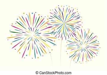 new year colorful fireworks decoration isolated on white backgro