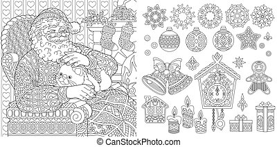 Gingerbread house colouring page. Vector illustration ...