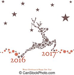 New year coming - 2017 - Background with reindeer and new...