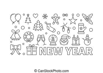 NEW YEAR concept vector illustration in thin line style