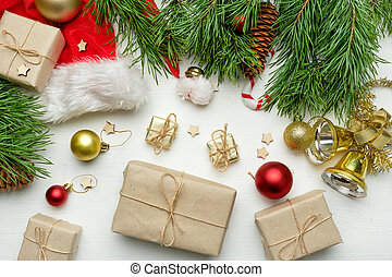 New year concept with gifts on wooden background