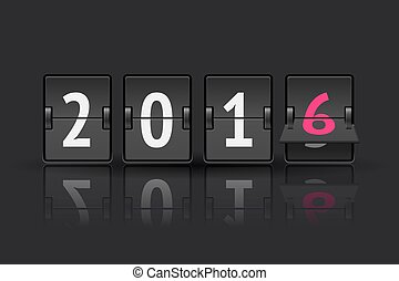 New year countdown - 2016 countdown timer with flip isolated...