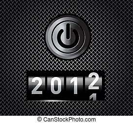 New Year counter 2012 on black metal pattern with power...