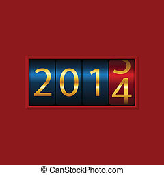 New Year counter, 2013, 2014. Isolated. Vector Illustration