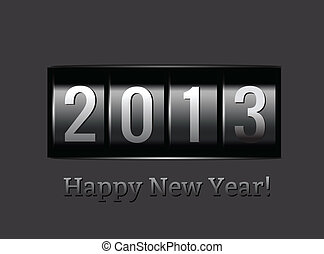 New Year counter 2013. Vector illustration on black