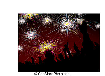 new year crowd fireworks