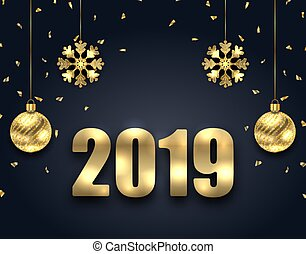 New Year Dark Background with Golden Balls, Snowflakes. Greeting Banner