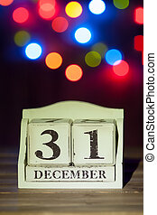 New Year Date On Calendar. 31st Of December. Colorful Bokeh,...