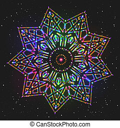 New Year Decoration Shining Colorful Star.