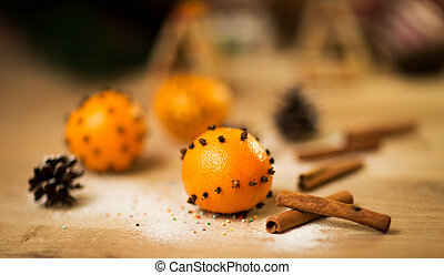 cinnamon on wooden table