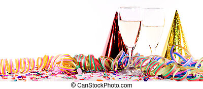 New Year decoration with sparkling wine or champagne,...