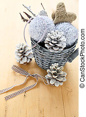New Year decorations in a wicker bucket