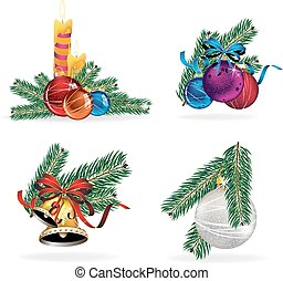 Set of New Year decorations elements isolated on a white background