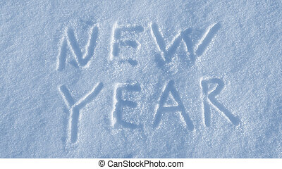 New Year drawing on the snow background