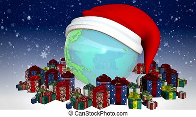 New year Earth with presents