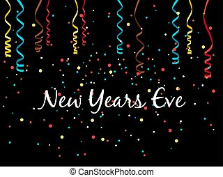 New year eve background with confetti and serpentine, vector...