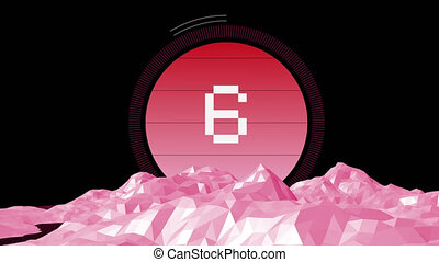 Animation of countdown on New Year Eve, from ten to zero in white digital numbers on pink circle with pink mountains on black background
