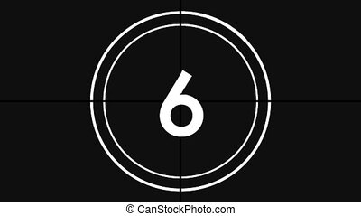 Animation of countdown on New Year Eve, from ten to zero in white numbers and in white circle on black background