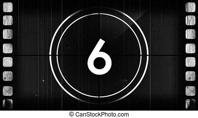 Animation of countdown on New Year Eve, from ten to zero in white numbers and in white circle on grey retro background