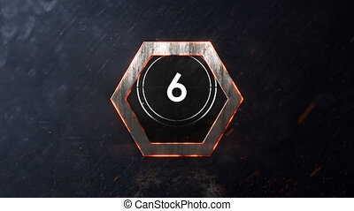Animation of countdown on New Year Eve, from ten to zero in white numbers, white circle and glowing hexagon on grey background