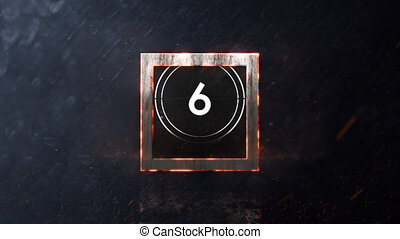 Animation of countdown on New Year Eve, from ten to zero in white numbers, in white circle and glowing square on grey background