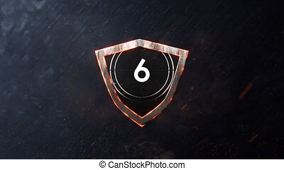 Animation of countdown on New Year Eve, from ten to zero in white numbers, in white circle and glowing shield on grey background