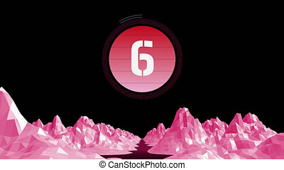 Animation of countdown on New Year Eve, from ten to zero in white numbers on pink circle with pink mountains on black background