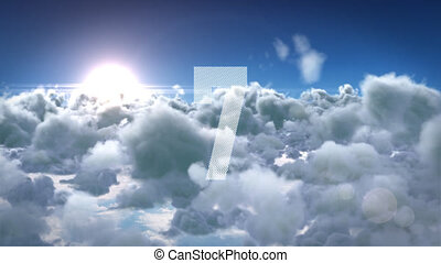 Animation of countdown on New Year Eve, from ten to zero in white numbers with clouds in the background