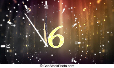 Animation of countdown on New Year Eve, from ten to zero in yellow numbers with ticking clock, fireworks and golden confetti in the background