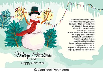 New Year fantastic card a banner with a congratulation of a Merry Christmas. The snowman holds a garland with small lamps and birdies. Around an icicle and snow