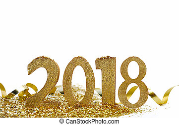 new year figures 2018 - golden 2018 figure on confetti and...