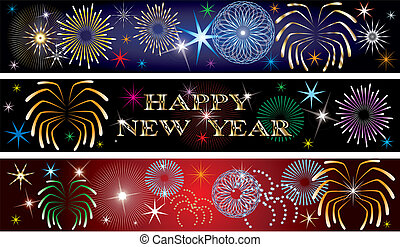 New Year Firework Banners 2 - Vector Illustration for the...