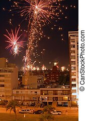 New year fireworks celebration over the city. - Beautiful...