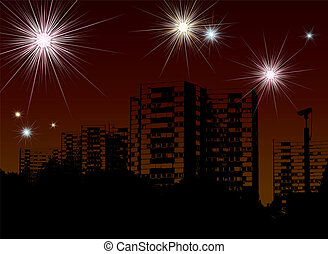 new year fireworks - city scape illustration for the 2008...