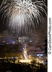 New Year fireworks in Brasov, Romania