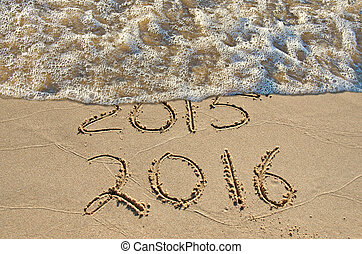 New Year for 2016 on beach