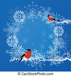 New Year frame with bullfinches