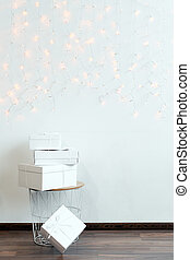 New Year gifts, white boxes on light background with winter ...