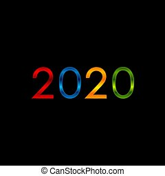 New Year glossy 2020 multicolored abstract background