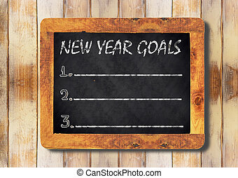 new year goals chalk on the blackboard