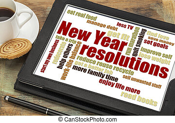 New Year goals or resolutions - a word cloud on a digital...