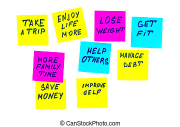 new year goals or resolutions - colorful sticky notes on a white background