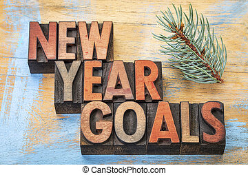 New Year goals word abstract