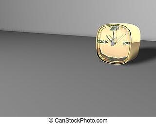 new year gold clock 3d illustration