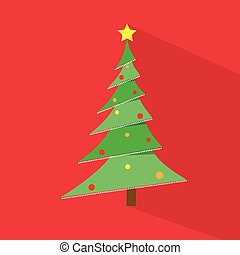 new year green christmas tree over red flat icon design