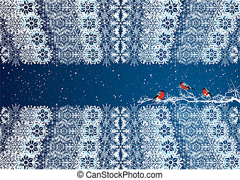 New Year greeting background with bullfinches