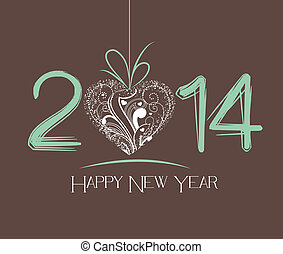 New Year greeting card - happy new year 2014