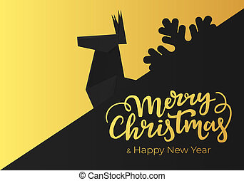New Year greeting card template with Christmas lettering and decorations made of black paper and gold foil.