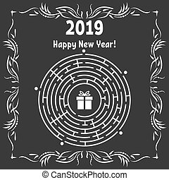 New Year greeting card with a round labyrinth. Find the right path to the gift. Game for kids. Puzzle for children. Labyrinth conundrum. Vector illustration. With frame in vintage style.